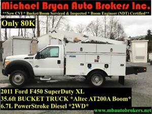 2011 FORD F450 - 35.6FT BUCKET TRUCK *6.7L DIESEL* ONLY 80K