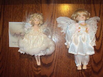 PORCELAIN DOLL ANGEL ORNAMENTS-SET OF 2-JOCELYN MOSTRUM-KURT ADLER-BEAUTIFUL!