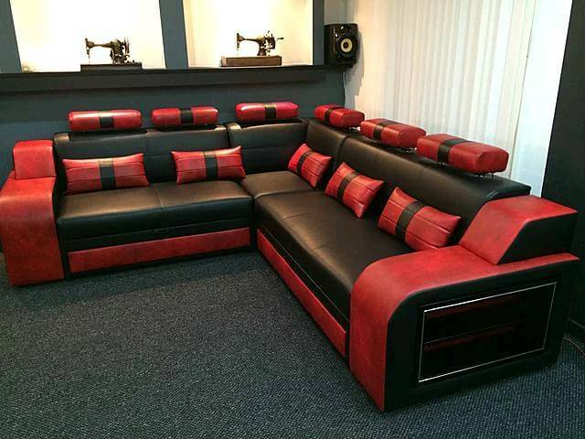 Black and red leather corner sofa