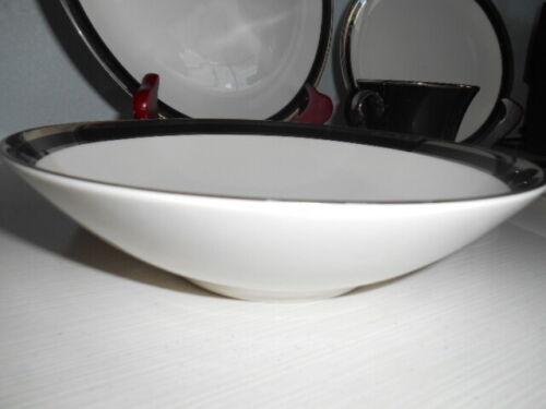 4 SHENANGO Reynolds Fine China Coupe Bowls Black Platinum Trim Midnight Halo