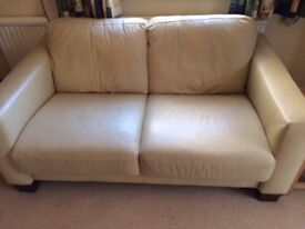 Creme Leather Sofa Suite - High Quality (3, 2 & 1 seater + footstall)