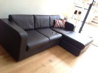 Leather Habitat 3 seater corner sofa (about 5 years old)