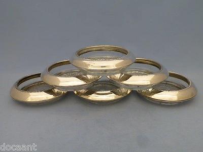 6 Untersetzer - Glas / 925er Silber - USA um 1950  - Frank M. Whiting