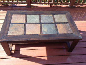 Refinished Wood Coffee Table with inlaid Tile top $200