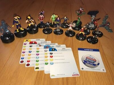 Marvel Heroclix Mixed Lot Of 15 Figures Poison Ivy, Batman w/Some Cards