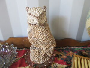 vintage sea shell owl one foot tall