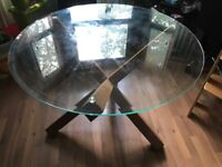 Glass and oak dinning table