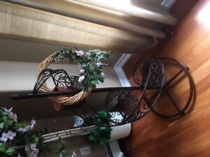 High Top Bistro Set; Resin Wicker Patio Set; Plant Stand