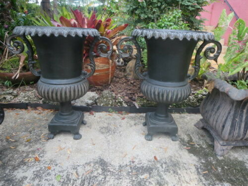 Pair Of Cast Metal  Classical Garden Planter Urns 26""