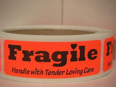Fragile Handle With Tender Loving Care Sticker Label Red Fluorescent Bkgd 250rl