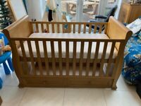 Cot Bed & Drawer Oak - East Coast Langham - Free delivery within 10 miles of NR4