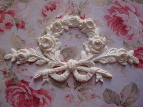 NEW! Large Rose Stem/Branch Wreath Furniture Applique Architectural Pediment