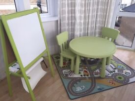 Kids furniture & play; table, rug, easel, bedding