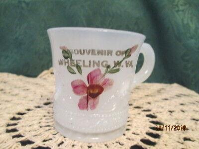 RARE Vintage Souvenir of WHEELING WV  Hand Painted Mini Glass Mug
