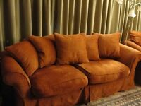 4 SEATER SOFA RED FEATHER LOOSE COVERS GOOD CONDITION