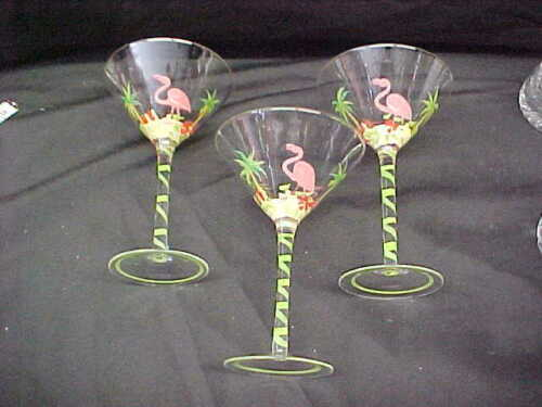 3 HAND PAINTED PINK FLAMINGO & PALM TREES COCKTAIL / MARTINI GLASSES
