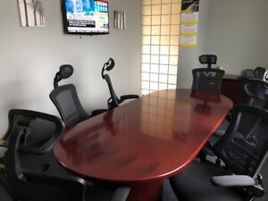 BOARD ROOM TABLE WITH CREDENZA AND CHAIRS