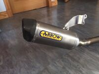 Arron 3 into 1 full Lowboy Exhaust System with Carbon Fibre End Can. Fits Triumph Speed Triple R