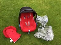Maxi-Cosi Cabriofix car seat/carrier, group 0+, red & black.