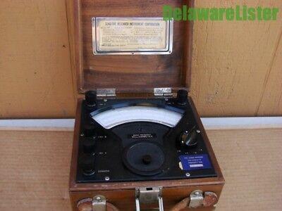 Vintage Radio Freg. Milliammeter Model Rf Wooden Case Handle