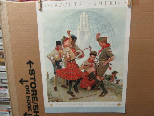 A Good Sign All Over the World, Rockwell Boy Scout Print 16 by 21     ptr