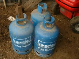 3 X 15GKS CALOR GAS BUTANE CYLINDERS - MORE THAN HALF FULL