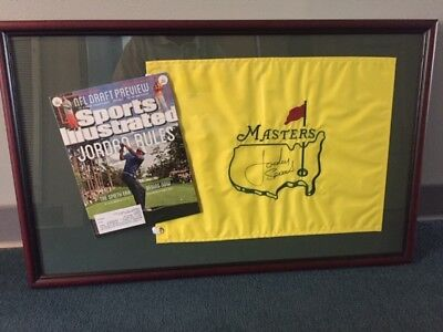 Jordan Spieth signed Masters flag, framed with Sports Illustrated, fundraiser - Framed Masters Flag