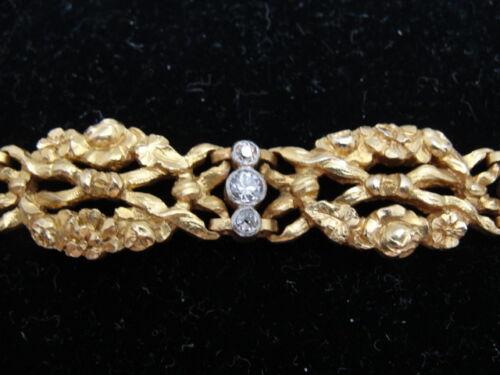 French 18K Gold and Diamonds Art Nouveau Bracelet with Flower & Ribbon Design
