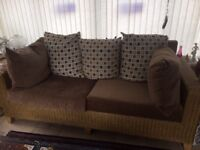 Pinewick sunroom/conservatory furniture: 3-seater couch and single chair