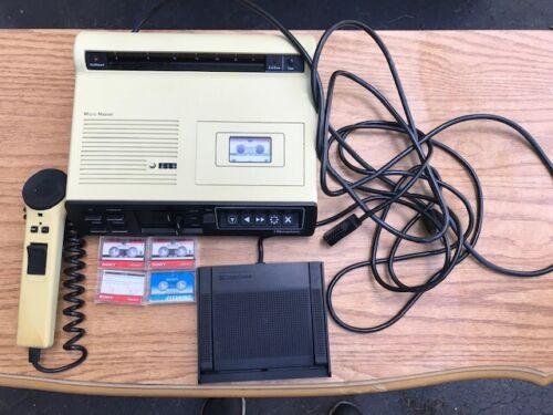 DICTAPHONE Micro Master Mini Cassette Dictation Machine Set w/ Pedal Works