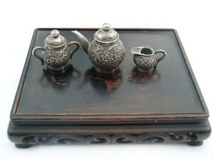Vintage-Japanese-Silver-Miniature-tea-set-tea-pot-sugar-and-mik-Japan