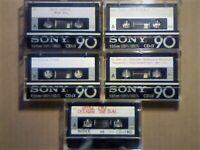 5x SONY CD-a ALPHA 90 PREMIUM CHROME TYPE 2 CASSETTE TAPES. 1978-1981. EXCELLENT & EXCEEDINGLY RARE.