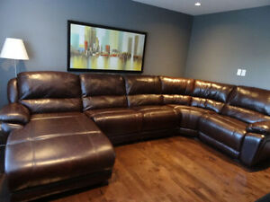 Like NEW Marco Genuine Leather Sectional and Chaise in Chocolate