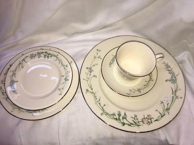 Minton Brookwood Fine Bone China Platinum 5P Dinnerware Set by Royal Doulton