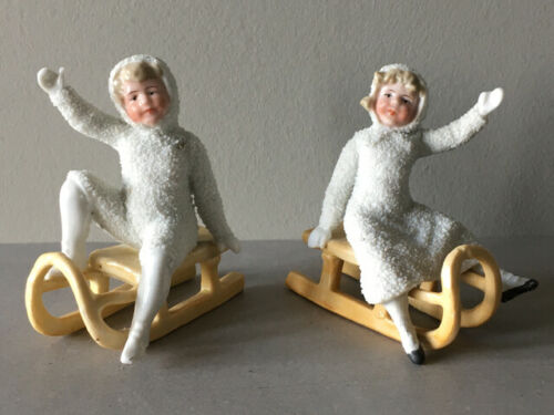Antique Heubach German Porcelain Snow Baby Pair On Sleigh