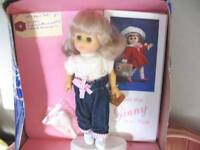 """8"""" 1986 ADORABLE ORIGINAL GINNY DOLL, JEAN OUTFIT, STAND, BOX"""