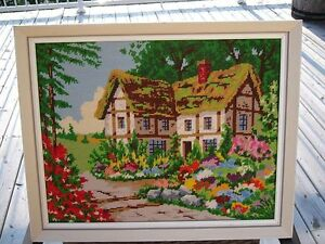 FRAMED NEEDLEPOINT PICTURE OF HOUSE AND LANDSCAPED YARD