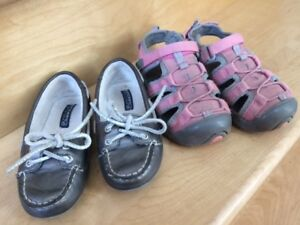 Girls' sandals and boat shoes (size 10)
