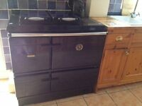 Stanley Oil Fired Range/Cooker with heating (14 rads.) & hw . VGC . Royal Blue . Fully programmable