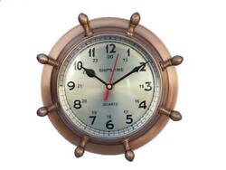 Antique Brass Double Dial Porthole Wheel Clock 8 - Port Hole Clock - Brass Cloc