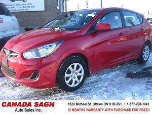 2012 Hyundai Accent GAS SAVER ALL POWER, 12M.WRTY+SAFETY $5990