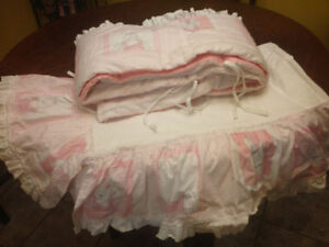 Pink Bunnies Bumper pads and Crib Skirt for little girl VGC