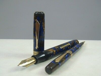 Vintage WATERMAN  Patrician Turquoise Blue&Gold (SET) FP+MP Fountain Pen +MP