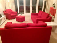 Red fabric sofa suite 3+2+1 plus footstool