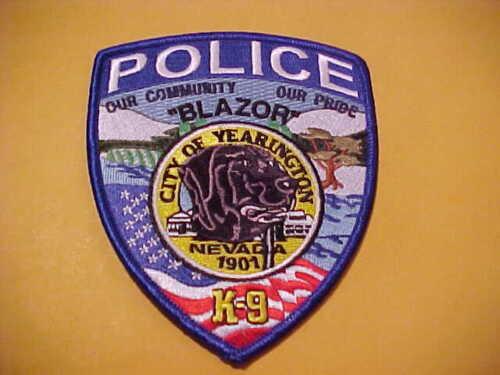 YEARINGTON NEVADA K-9  POLICE PATCH  SHOULDER SIZE UNUSED