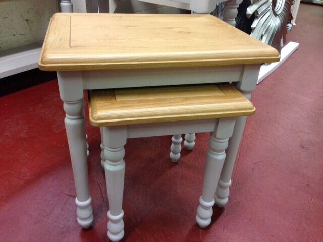New grey & oak nest of tables