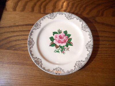 Vintage Paden City Pottery American Rose Warranted 22K Bread and Butter Plate