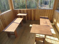 Benches and endtables Cedar