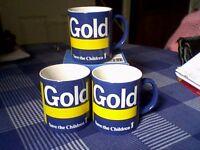 """ST IVEL GOLD"" MUGS x 3 - NEW/UNUSED - 1980's/90's"
