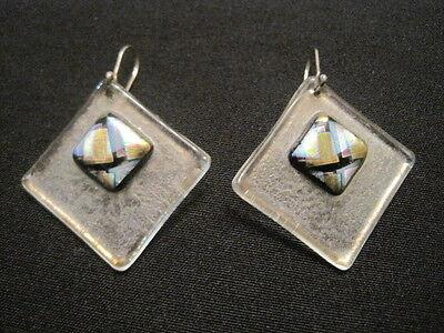 Designer Art Glass Earrings - Beautiful Art Glass Pierced Earrings ~ Art Glass Design measure 1.5